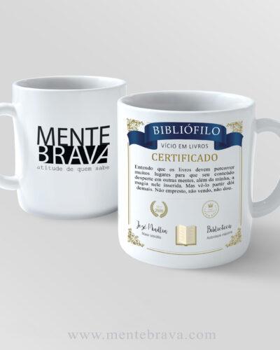 Caneca de porcelana Certificado Bibliófilo MENTEBRAVA